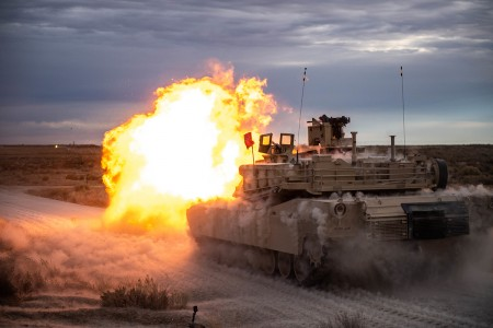 Soldiers from the 116th Cavalry Regiment conduct tank crew gunnery, Nov. 11, 2019, at the Orchard Combat Training Center, Idaho. (U.S. Army photo by Sgt. Mason Cutrer)