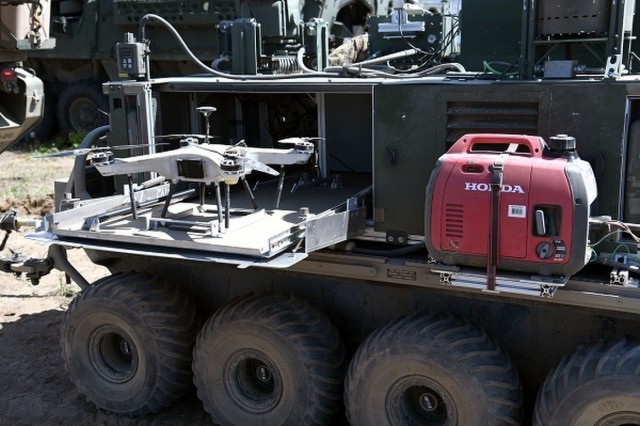 The Deep Purple is a quad-rotor Unmanned Aircraft System developed by CCDC Chemical Biological Center that was integrated with chemical detection capability for the JWA 2019. (U.S. Army photo.)