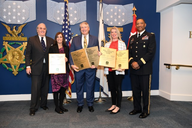 The Department of the Army recognized Fort Huachuca, along with nine other winners of the 2019 Army Community Partnership Awards at a Dec. 5 ceremony in the Hall of Heroes at the Pentagon, Arlington, Va. Pictured from left are Hon. Alex Beehler, Assistant Secretary of the Army for Installations, Energy and Environment; Arizona Senator Martha McSally; Darren Crossley, acting deputy to the garrison commander, Fort Huachuca; Kristen Baxter, vice president, USO Field Operation; an Lt. Gen. Jason T. Evans, Deputy Chief of Staff, G-9, and host of the event. Fort Huachuca was recognized for four partnerships with various community partners, including the City of Sierra Vista, the Upper San Pedro Partnership, the United Service Organization and the Arizona Department of Forestry and Fire Management. (U.S. Army photo by Mr. Leroy Council)