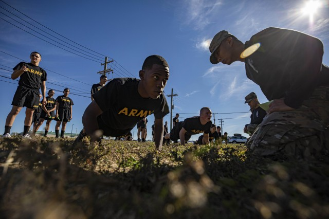Army recruits participate in physical training at the National Guard Training Center in Sea Girt, N.J., Oct. 19, 2019.