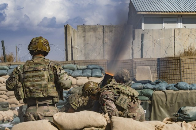 Soldiers assigned to the Illinois Army National Guard's 1st Battalion, 178th Infantry Regiment fire mortar rounds during live-fire operations in southeastern Afghanistan Oct. 17, 2019.