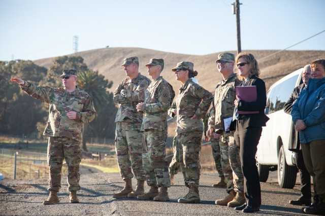 Army Maj. Gen. Stephen Farmen, Commanding General of the U.S. Army Military Surface Deployment and Distribution Command, tours Military Ocean Terminal Concord, Calif., on Dec. 9, 2019.  Farmen inspected military construction projects at the strategic Department of Defense port during his 1-day visit. U.S. Army Corps of Engineers South Pacific Division commander Brig. Gen. Kim Colloton, and Col. James Handura, USACE Sacramento District commander, joined Farmen to discuss the status of district construction projects currently being built at MOTCO. The leaders visited the largest ongoing project at the base, the repair and modernization of Wharf 2, which will enhance its efficiency, safety and capability. Primary construction at the $98M project is on schedule and will be complete in October 2020. (U.S. Army photo by Ken Wright)