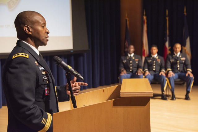 Lt. Gen. Bruce Crawford, the Army's chief information officer, speaks during a commissioning ceremony at Bowie State University in Maryland, Dec. 12, 2019.