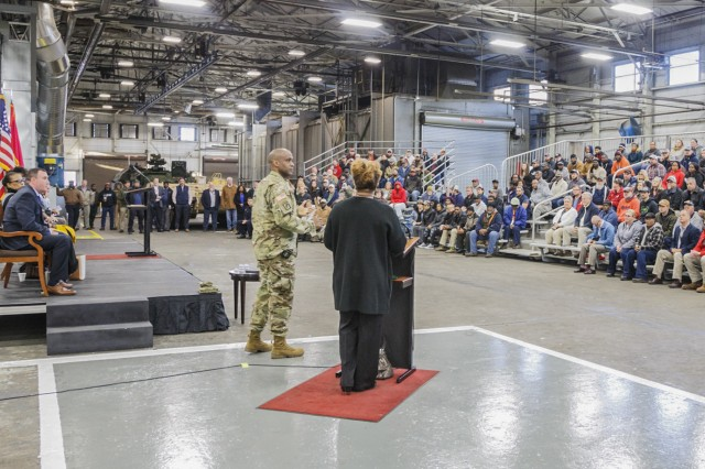Anniston Army Depot Commander Col. Marvin Walker speaks to employees during his first town hall meeting Nov. 20 in the Final Paint Facility.
