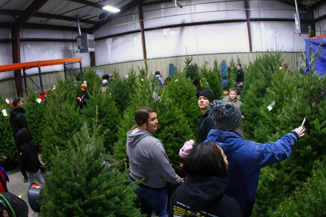 The Fort Sill Recycle Center warehouse was turned into a veritable forest Dec. 14-15, 2019, for the Trees for Troops giveaway. The installation received over 300 tree from the Christmas Spirit Foundation, and delivered at no cost to the post by FedEx.