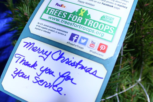 Many of the trees had notes from the individuals and families who purchased the trees and donated them to the Christmas Spirit Foundation.