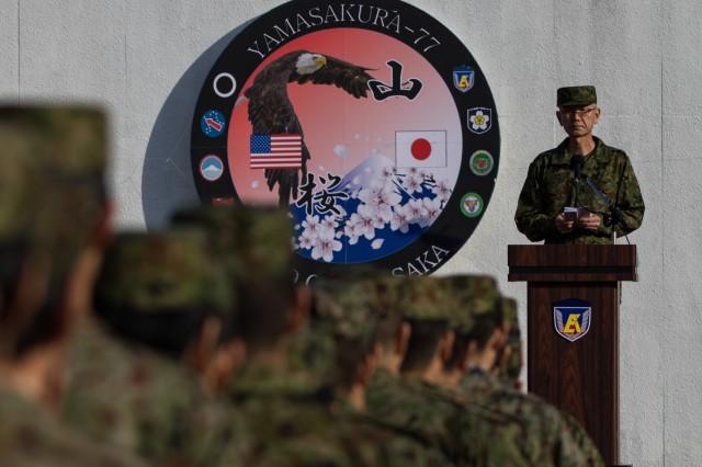 "Japan Ground Self-Defense Force Lt. Gen. Takayuki Onozuka, commanding general of the JGSDF Eastern Army, delivers his closing remarks at the Yama Sakura 77 closing ceremony at Camp Asaka, Japan, Dec. 15, 2019. ""The trust between Japan and the U.S. has deepened through this exercise,"" Onozuka said. ""I know I will treasure this Yama Sakura experience."""