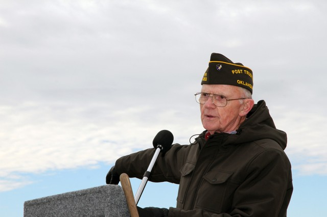 Dale Scott, VFW Post 5263 trustee, welcomes the crowd to the Wreaths Across America ceremony Dec. 14, 2019, at the Fort Sill Post Cemetery.