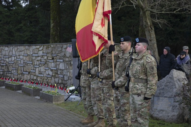 American Honor Guard Soldiers participate in a ceremony recognizing the 75th anniversary of the Malmedy Massacre in Malmedy, Belgium, Dec. 15, 2019. The ceremony honored the fallen Soldiers who were victims of the massacre and those who fought in World War II. DoD photo by Sgt. Erica Earl / Released