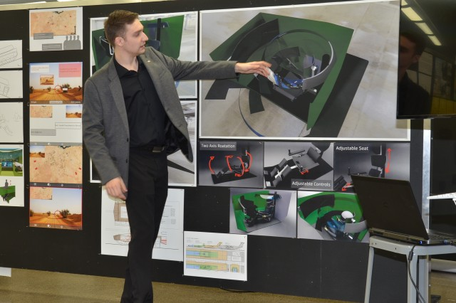 College for Creative Studies transportation design student Andrew Beauchamp was awarded second prize for his interior design concept for future combat vehicles as part of a course sponsored by U.S. Army Ground Vehicle Systems Center. (U.S. Army photo by Jerome Aliotta/released)