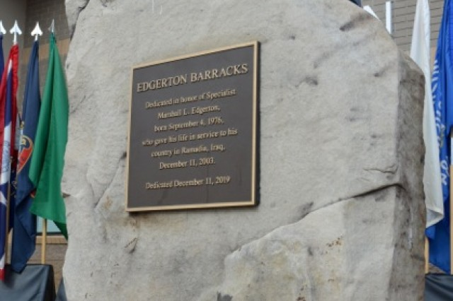 This monument in front of Building 33806, shown here Dec. 11, honors the building's namesake: Sgt. Marshall Lane Edgerton, 82nd Airborne Division. The sergeant, a Georgia native whose memory was honored in a Dec. 11 ceremony, died in Iraq in 2003 in a suicide bombing in which his quick, ultimate response was credited with having helped avert mass casualties at a dining facility.