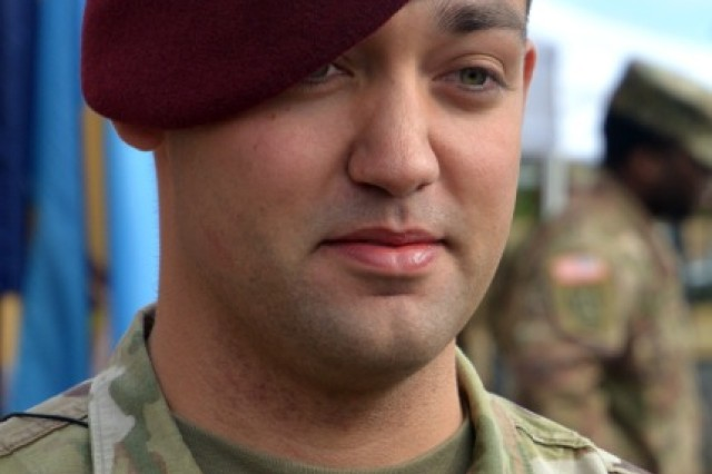 Sgt. Marshall H. Edgerton, 82nd Airborne Division, is on hand for an interview Dec. 11 at Fort Gordon following a memorialization ceremony naming Building 33806 in memory of his father, who also served in the 82nd and died in December 2003 in Iraq while responding to an imminent suicide bombing. The late sergeant's actions were credited with having helped prevent mass casualties at a dining hall.