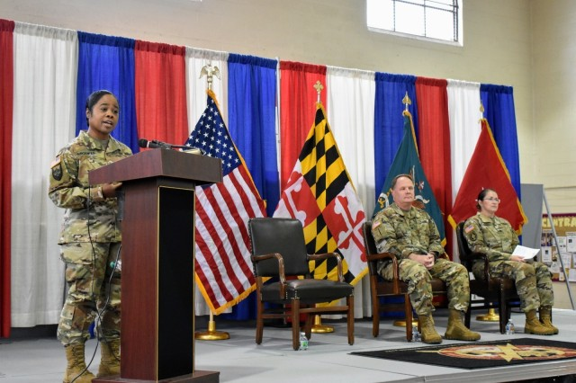 Maryland's Assistant Adjutant General for the Army, Brig. Gen. Janeen L. Birckhead provides opening remarks at the 110th IO Battalion's third annual Information Operations and Cyber Operations Symposium at the Annapolis Readiness Center, on Nov. 17. Whether at home in Maryland working toward election security or supporting a multi-national exercises with our international partners, the 110th IO Battalion contributes key capabilities to the Total Army to face threats in the information environment and cyber domain. This year's third annual symposium provided an opportunity for experts in these fields to share information and build relationships as they work together to meet the unique challenges of today's threat environment.