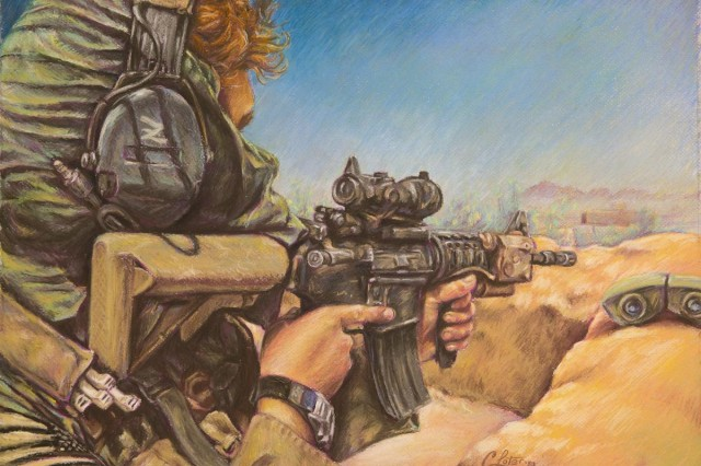 """""""Scanning"""" by Sgt. 1st Class Curt Loter. Charcoal pastel on paper, 2008. A Green Beret, on security detail with 7th Special Forces Group, scans the horizon in Afghanistan's Zeriko Valley."""