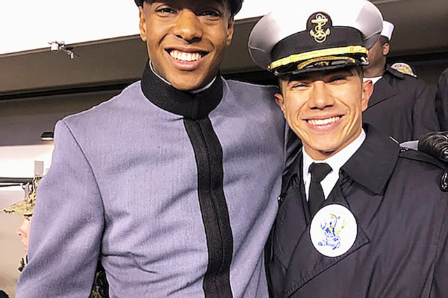 Class of 2023 Cadet Jonathan Parham spent some of his first Army-Navy experience with Midshipmen 1/C Miguel Huerta.