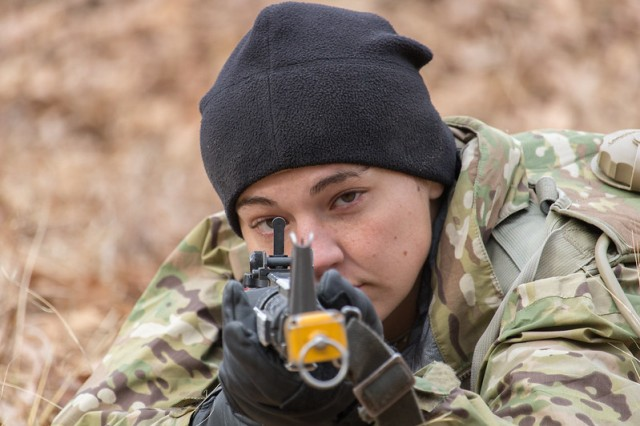 Pfc. Katelyn Castro is the only female in her platoon to qualify as an expert marksman on the M4 rifle using a close-combat optic. Her Military Occupational Specialty is 68W, or combat medic.