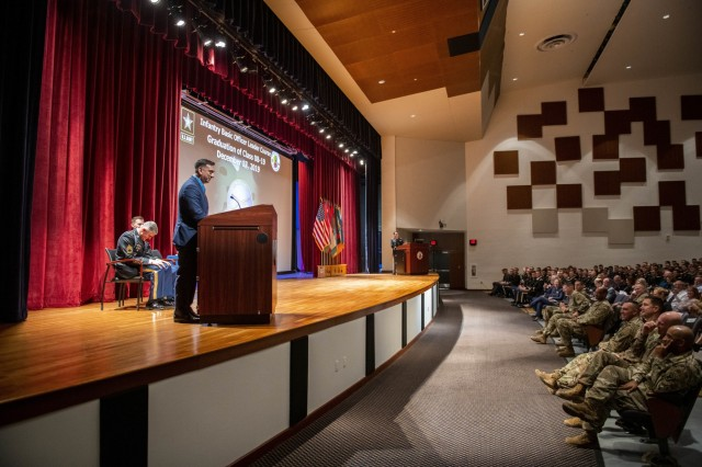 FORT BENNING, Ga. -- Medal of Honor recipient former Staff Sgt. David G. Bellavia spoke at the Infantry Basic Officer Leader Course graduation Dec. 17. (U.S. Army photo by Patrick Albright, Maneuver Center of Excellence, Fort Benning Public Affairs)