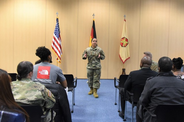 Installation Management Command-Europe Command Sgt. Maj. Samara Pitre addresses the audience at the Department of Veterans Affairs' Warrior Transition Advancement Course graduation ceremony Dec. 19 at Sembach Kaserne, Germany. Fifteen transitioning service members from throughout Europe graduated.