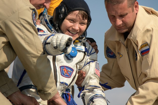 U.S. Army astronaut Lt. Col. Anne McClain exits the Soyuz MS-11 spacecraft minutes after she, Canadian Space Agency astronaut David Saint-Jacques, and Roscosmos cosmonaut Oleg Kononenko, land back on Earth June 24 (U.S. Eastern time). McClain returns after 204 days in space where she served as a member of the Expedition 58 and 59 crew onboard the International Space Station.
