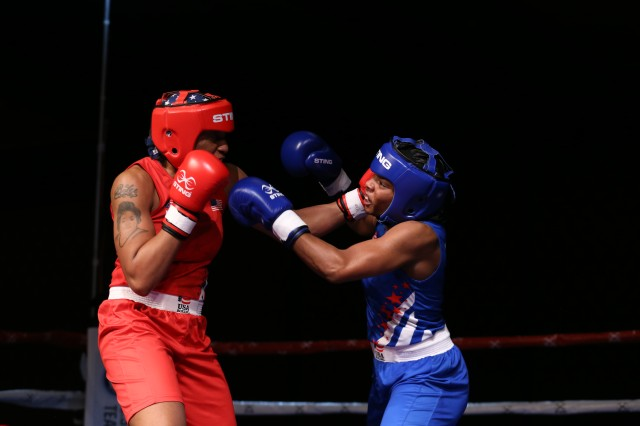 Staff Sgt. Naomi Graham boxing in the final round of the women's 75kg weight class of the 2019 U.S. Boxing Olympic Trials in Lake Charles, Louisiana. Graham won first place for her weight class and will go onto an evaluation tournament in Bulgaria before the final 2020 Olympic team is named.