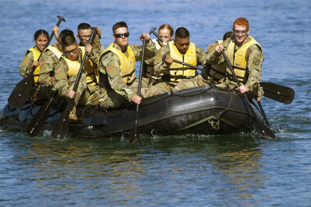 U.S. Army ROTC cadets from the University of San Francisco paddle a Zodiac boat as part of U.S. Army Cadet Command's Ranger Challenge, Oct. 26, 2019, at Marine Corps Base Camp Pendleton, Calif.
