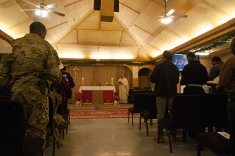 Deployed Service Members Celebrate Christmas Eve Mass on Kandahar Airfield