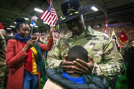 U.S. Army Soldiers with the New Jersey Army National Guard are reunited with their Families and friends after a welcome home ceremony at the National Guard Armory in Westfield, N.J., Dec. 12, 2019. The Soldiers, who are part of New Jersey's 44th Infantry Brigade Combat Team, served in support of Operation Spartan Shield in Jordan.