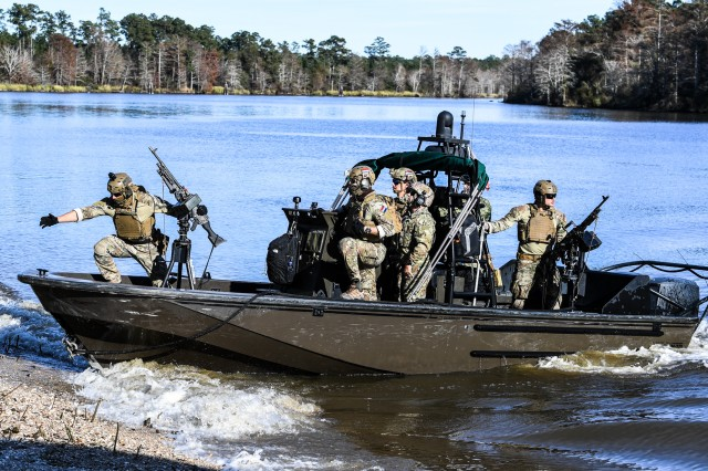 Dutch soldiers participate in the Naval Small Craft Instruction and Technical Training School's Patrol Craft Advanced Training tactical course at the John C. Stennis Space Center, Miss., Dec. 10, 2019. NAVSCIATTS is a security cooperation schoolhouse operating under U.S. Special Operations Command in support of foreign security assistance and geographic combatant commanders' theater security cooperation priorities.