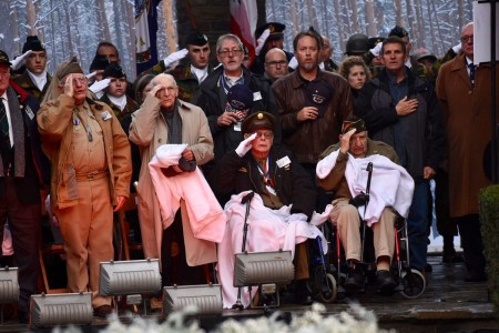 Veterans of World War II attend a ceremony marking the 75th anniversary of the Battle of the Bulge at the Mardasson Memorial near Bastogne, Belgium, Dec. 16, 2019.