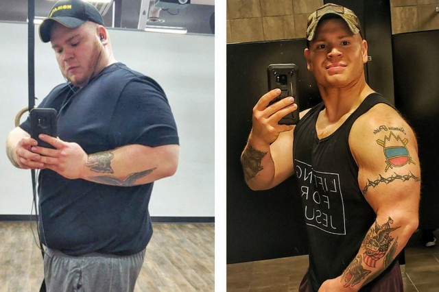In this before and after shot, Matt Logsdon shows the transformation he went through to be eligible to join the Ohio Army National Guard. By changing his diet and exercising two hours a day, six days a week for a year, Logsdon was able to lose 145 pounds and improve his body fat percentage from 52% to 20%.