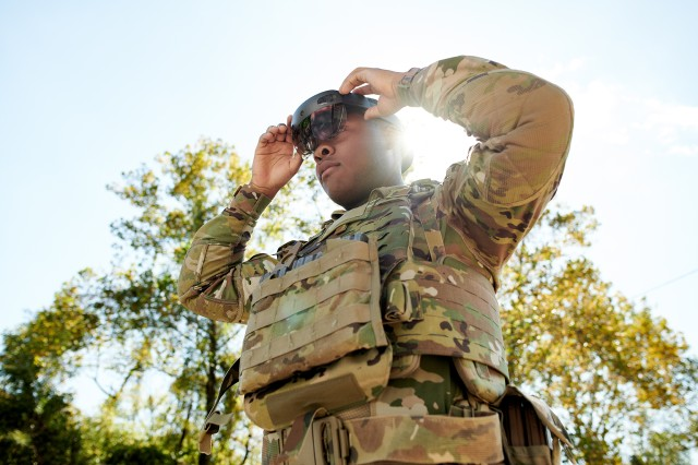 A Soldier models a prototype of the Integrated Visual Augmentation System being developed by Microsoft for the Army Future Command's Soldier Lethality Cross Functional Team.