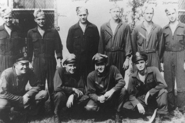 An undated photo of William P. Bonelli in Italy with his flight crew. Back row, left to right: Army Staff Sgt. Harry Murray, later killed in action; Army Staff Sgt. Freeman Quinn; Army Staff Sgt. James Oakley; Army Staff Sgt. Karl Main; Army Tech. Sgt. John Raney; and, Army Tech. Sgt. Howard Morreau. Front row, left to right: Army 1st Lt. Charles Cranford, navigator; 1st Lt. Steve Conway, co-pilot; Capt. Fred Anderson, bombardier; and Bonelli, the pilot.