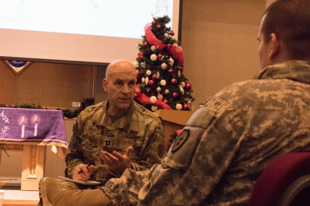 U.S. Army Capt. Bill Fry, the chaplain with 1st Stryker Brigade Combat Team, 25th Infantry Division, leads a mock counseling session during Connection Life Purpose System training at Northern Lights Chapel on Fort Wainwright on December 17th, 2019. Connection Life Purpose Strategy is a way for Soldiers to foster healthy relationships at the unit as well as purpose through service to each other and community. (U.S. Army photo taken by Sgt. Nicholas Vidro, 1 Stryker Brigade Combat Team, 25th Infantry Division Public Affairs)