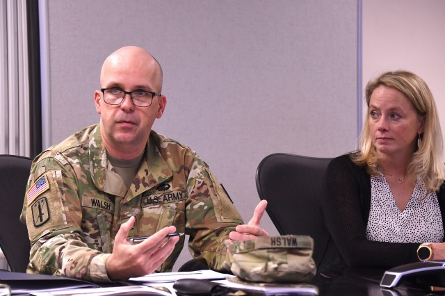 Col. Timothy D. Walsh, commander of the U.S. Army Medical Materiel Agency, speaks during a workshop at Fort Detrick, Md., to discuss additive manufacturing with the U.S. Food and Drug Administration on Dec. 9, 2019. Also pictured is Heather L. Agler, a senior program manager for the FDA.