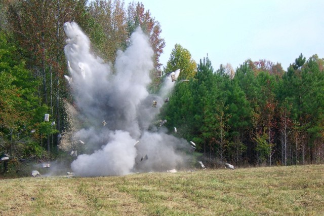 Ordnance experts detonate an 81mm shell in place in 2010 on Camp Butner, North Carolina, as part of a Formerly Used Defense Sites program cleanup of the former Department of Defense installation. The U.S. Army Corps of Engineers - Savannah District, oversees the FUDS program in the southeastern United States. The program encompasses more than 1,100 sites.