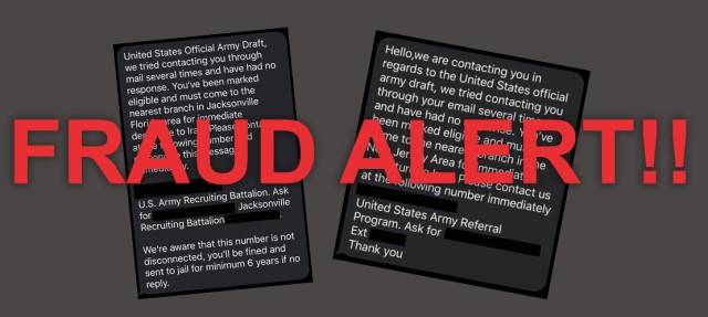 Fraudlent Military Draft Texts