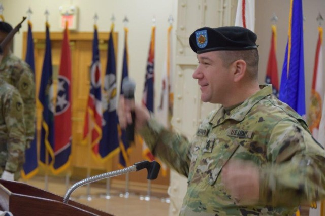 Outgoing Command Sgt. Maj. Brian Heffernan bids farewell to the U.S. Army Garrison Rock Island Arsenal during a ceremony Jan. 7 at the Arsenal's Heritage Hall. Heffernan said that other than the birth of his children, the Army has been the most important thing to happen to him.