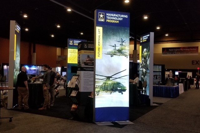 The Army ManTech program, which is executed by the U.S. Army Combat Capabilities Development Command, unveiled a new booth featuring the Army's modernization priorities at the Defense Manufacturing Conference in December 2019.