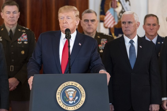 President Donald J. Trump, joined by Vice President Mike Pence, senior White House advisors and senior military personnel, delivers remarks from the White House, Jan. 8, 2020. Trump discussed Iran's retaliatory missile strikes against U.S. military and coalition forces in Iraq.