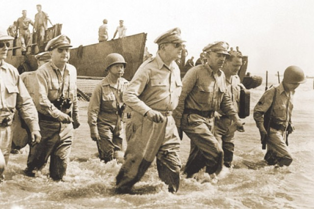 U.S. Army Gen. Douglas MacArthur returns to the Philippines, Leyte Gulf, October 1944.