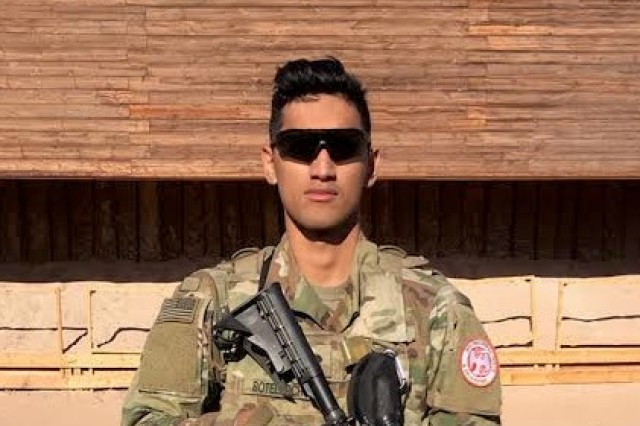 "U.S. Army Spc. Italgia Botelho-Cho stands in front of Spellmann Range in Sharm el-Sheikh, Egypt in December 2018."" (U.S. Army photo courtesy Spc. Italgia Botelho-Cho)"