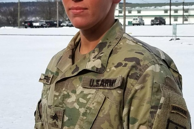 Sgt. Danielle Farber, a medical instructor at the 166th Regiment Regional Training Institute at Fort Indiantown Gap, displays her Ranger tab on Thursday, Jan. 9, 2020. In December, Farber became the first female Soldier from the Pennsylvania National Guard to graduate from U.S. Army Ranger School.