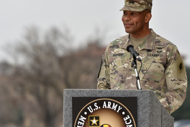MG Patrick D. Sargent giving his remarks during the MEDCoE Change of Command Ceremony.