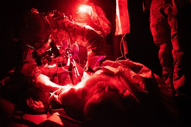A U.S. Army Ranger Combat Medic conducts routine medical training during 2nd Battalion, 75th Ranger Regiment's task force training August 2019. Ranger medics train throughout the year to be assault medics capable of bringing the fight to the enemy but also to save lives on the battlefield. The Ranger O-Low Titre protocol is practiced multiple times a year with the volunteers and medics to maintain a high level of medical proficiency.