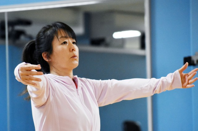 Eiko Kato, a cataloguer at the Camp Zama Library, participates in her second tai chi class at the Yano Fitness Center at Camp Zama, Japan, Jan. 9.