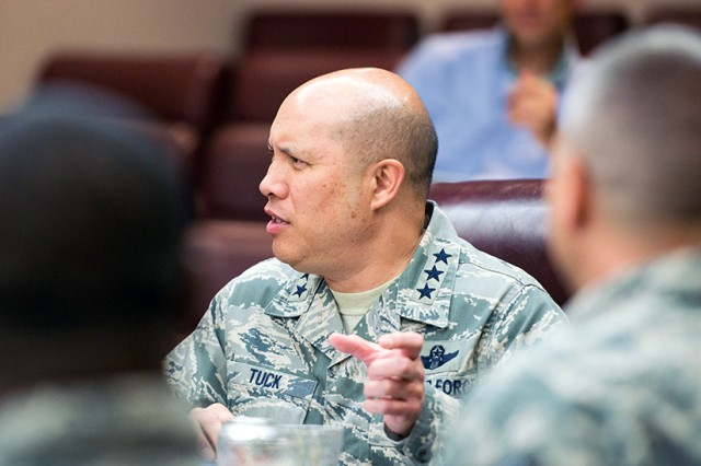 U.S. Air Force Lt. Gen. Giovanni Tuck, 18th Air Force commander, visits Travis Air Force Base, Calif., June 7, 2017. Tuck took command of 18th AF June 1 and is visiting bases throughout Air Mobility Command. Tuck leads AMC's operational mission as Air Forces Transportation, the air component of U.S. Transportation Command.