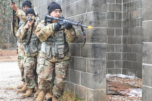 Pfc. Katelyn Castro, center, works with a team practicing urban assault tactics during the Forge phase of Basic Combat Training.