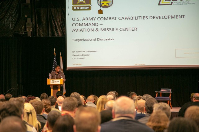 U.S. Army Combat Capabilities Development Command Aviation & Missile Center Executive Director Dr. Juanita M. Christensen addresses her workforce Jan. 13 at Redstone Arsenal, Ala. The center is reorganizing from five directorates to three to become more integrated, effective and efficient, Christensen said.