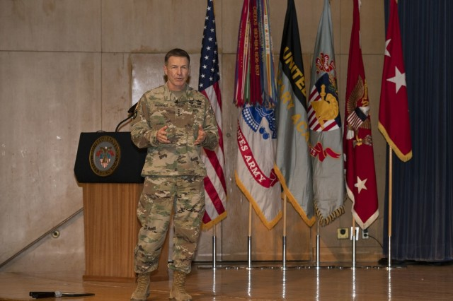Gen. James C. McConville, U.S. Army 40th chief of staff, held a leader professional development session with United States Military Academy staff and faculty on January 10th, at Robinson Auditorium, West Point, NY.