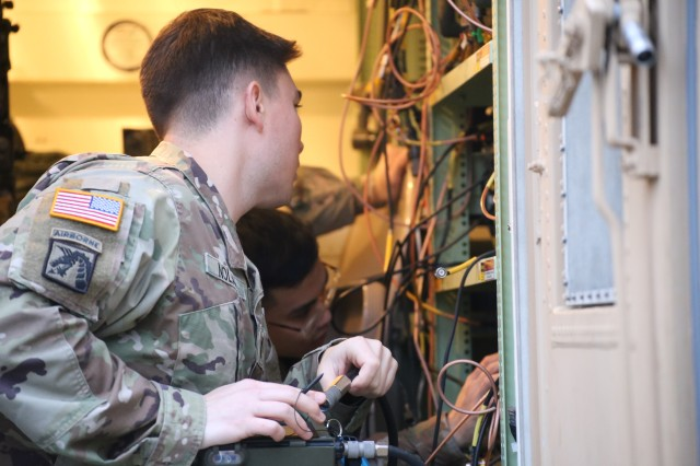 Soldiers from the 81st Stryker Brigade Combat Team perform communication equipment checks before the start of a Command Post Exercise at Camp Murray. The purpose of the CPX was to validate systems and command and control processes through distributed mission command. This exercise allowed the brigade an opportunity to collaborate digitally in managing combat operations in a dynamic digital operating environment.